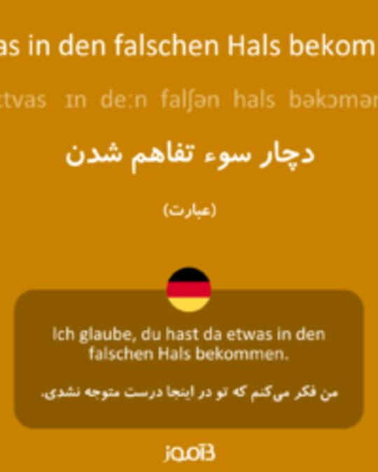ترجمه کلمه etwas in den falschen hals bekommen به فارسی