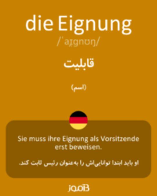 تصویر die Eignung - دیکشنری انگلیسی بیاموز