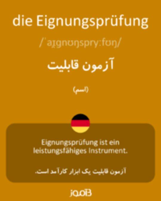 تصویر die Eignungsprüfung - دیکشنری انگلیسی بیاموز