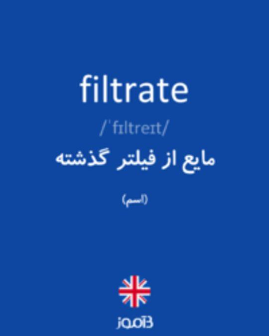 تصویر filtrate - دیکشنری انگلیسی بیاموز