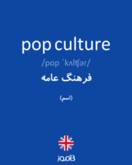تصویر pop culture - دیکشنری انگلیسی بیاموز