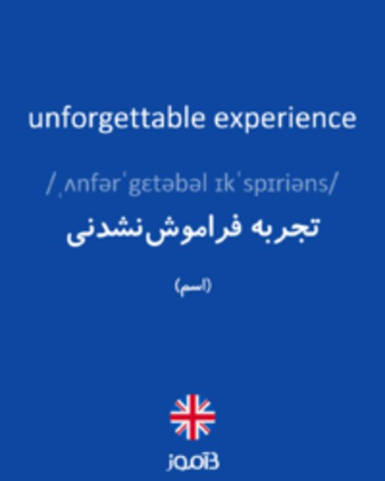 تصویر unforgettable experience - دیکشنری انگلیسی بیاموز