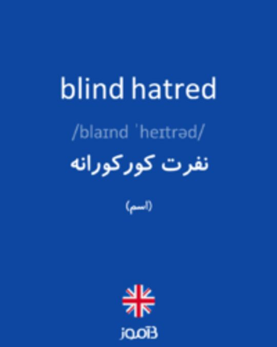 تصویر blind hatred - دیکشنری انگلیسی بیاموز