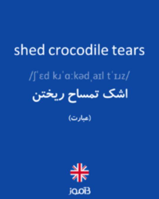 تصویر shed crocodile tears - دیکشنری انگلیسی بیاموز