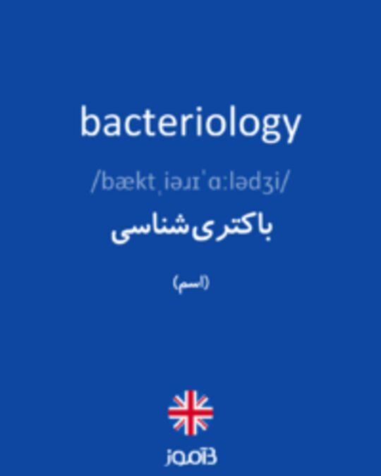تصویر bacteriology - دیکشنری انگلیسی بیاموز