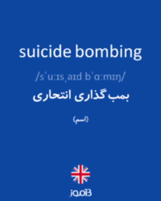 تصویر suicide bombing - دیکشنری انگلیسی بیاموز