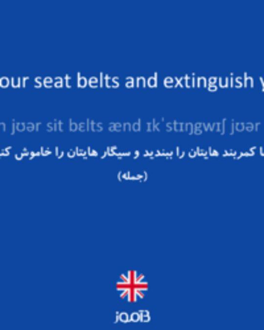 تصویر Please fasten your seat belts and extinguish your cigarettes. - دیکشنری انگلیسی بیاموز