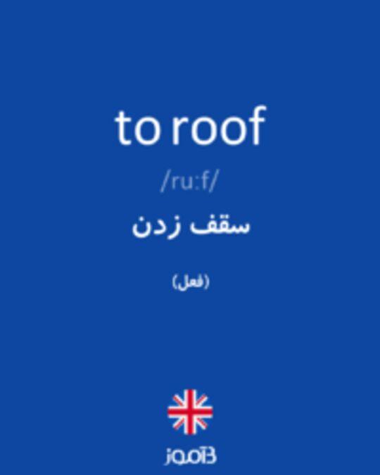 تصویر to roof - دیکشنری انگلیسی بیاموز