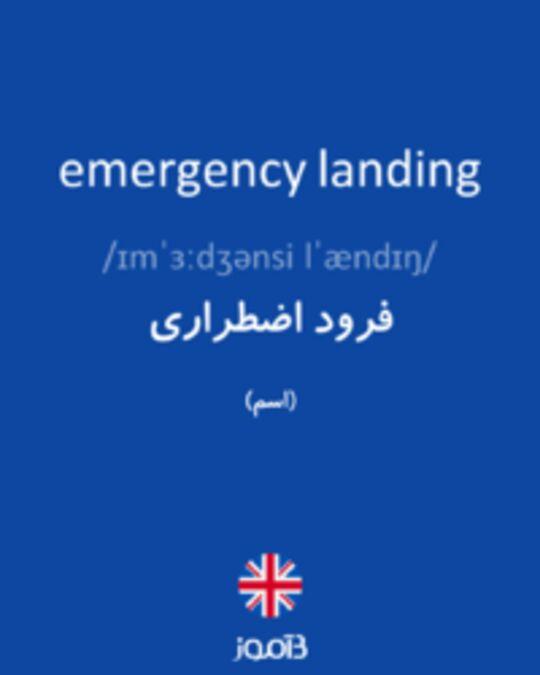 تصویر emergency landing - دیکشنری انگلیسی بیاموز