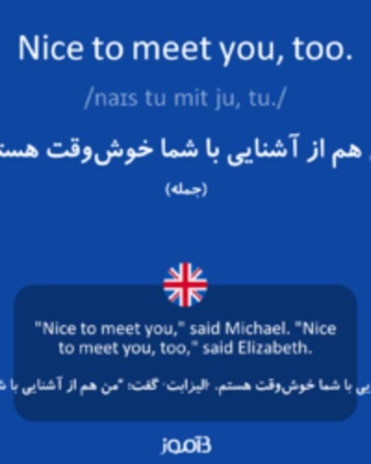 تصویر Nice to meet you, too. - دیکشنری انگلیسی بیاموز