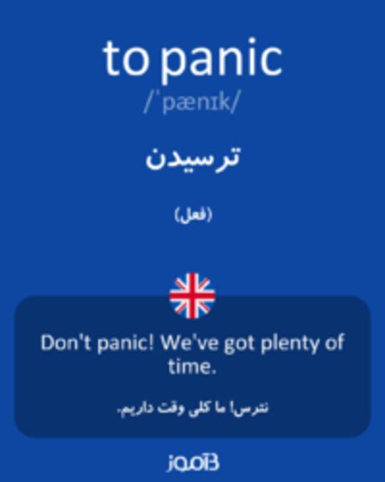 تصویر to panic - دیکشنری انگلیسی بیاموز