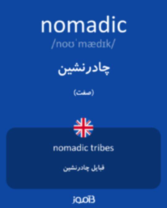 تصویر nomadic - دیکشنری انگلیسی بیاموز