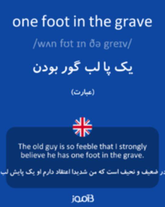 تصویر one foot in the grave - دیکشنری انگلیسی بیاموز