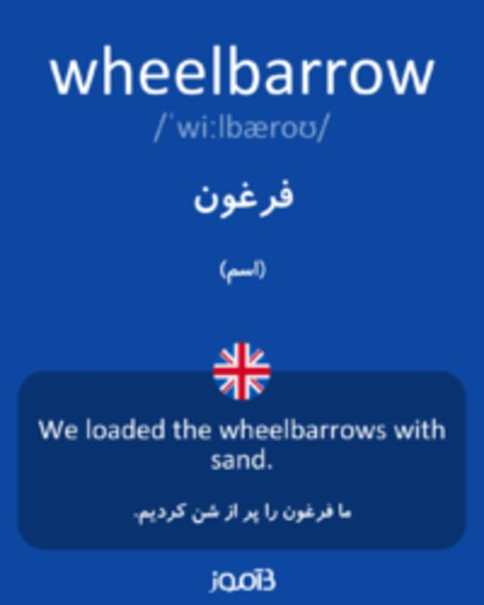 تصویر wheelbarrow - دیکشنری انگلیسی بیاموز