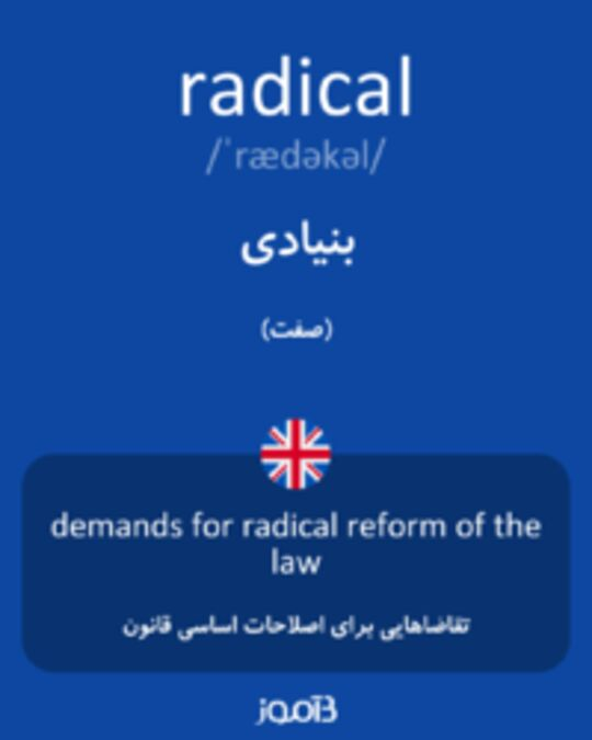 تصویر radical - دیکشنری انگلیسی بیاموز