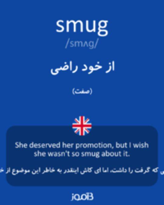 تصویر smug - دیکشنری انگلیسی بیاموز