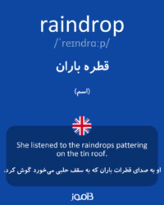 تصویر raindrop - دیکشنری انگلیسی بیاموز