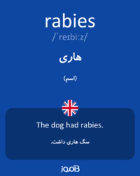 تصویر rabies - دیکشنری انگلیسی بیاموز