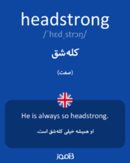 تصویر headstrong - دیکشنری انگلیسی بیاموز