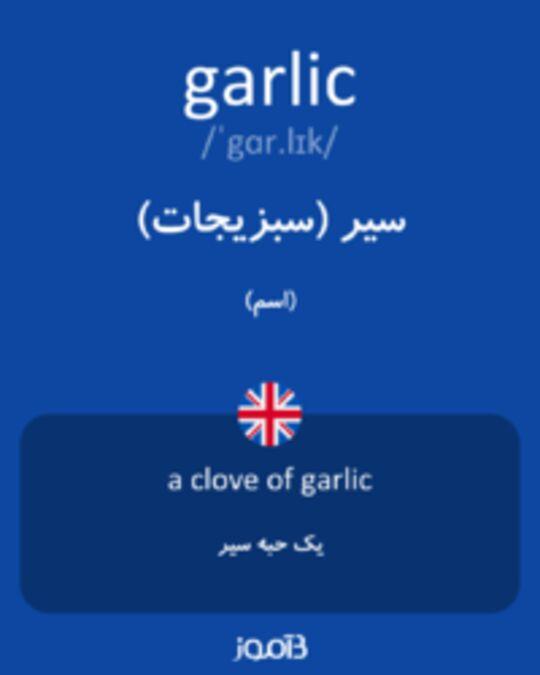 تصویر garlic - دیکشنری انگلیسی بیاموز