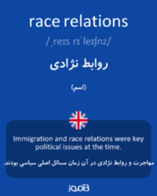 تصویر race relations - دیکشنری انگلیسی بیاموز