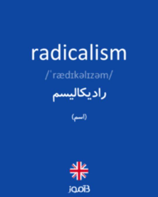 تصویر radicalism - دیکشنری انگلیسی بیاموز