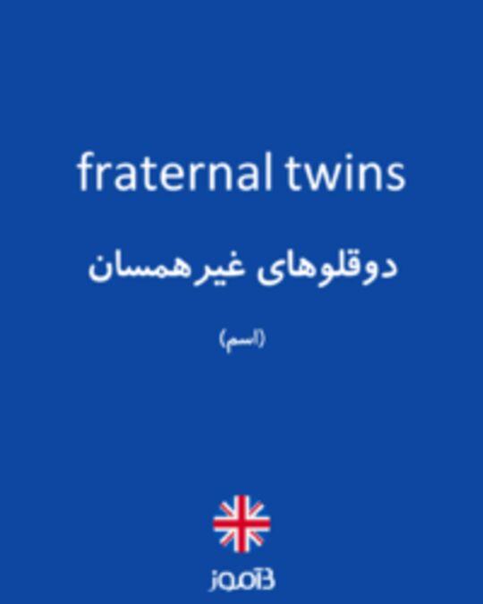 تصویر fraternal twins - دیکشنری انگلیسی بیاموز