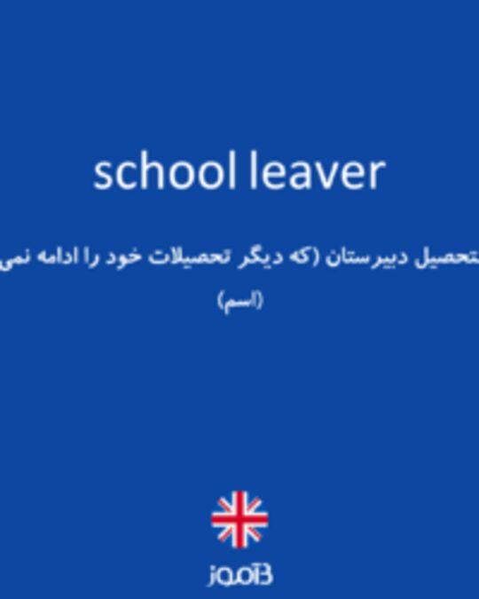 تصویر school leaver - دیکشنری انگلیسی بیاموز