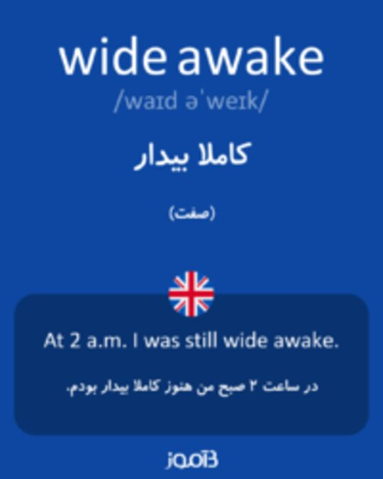 تصویر wide awake - دیکشنری انگلیسی بیاموز